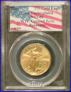 2001 $25 1/2 oz 1 of 269 911 AMERICAN GOLD EAGLE WTC GROUND ZERO RECOVERY