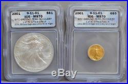 2001 American Eagle 2 Pc $5 Gold & $1 Silver 9-11-01 WTC Ground Zero MS70 ICG