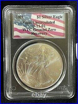 2001 American Eagle Silver $1 9/11/01 Wtc Ground Zero Recovery Pcgs Gem Unc