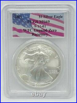 2001 American Silver Eagle PCGS MS69 WTC Ground Zero Recovery Flag Holder