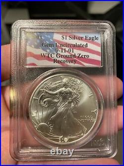 2001 American Silver Eagle WTC Ground Zero Recovery 9-11-01 PCGS Gem Unc
