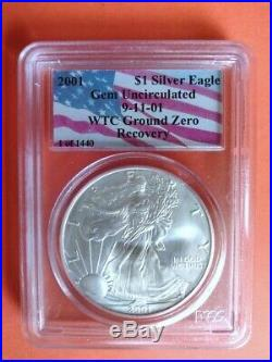 2001 Gem Uncirculated PCGS World Trade Center WTC Silver Eagle 1 of 1440