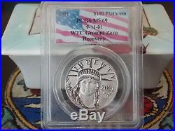 2001 MS69 $100, $25, & $10 Platinum Eagle Set PCGS WTC World Trade Center 911