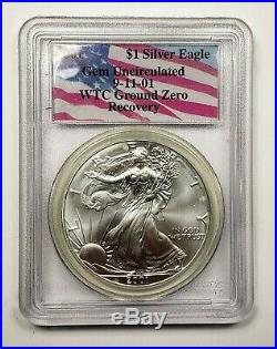 2001 PCGS $1 1oz Silver Eagle Gem Uncirculated 9-11-01 WTC Ground Zero Recovery