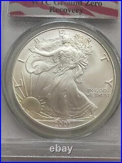 2001 Silver American Eagle 9-11-01 World Trade Center Recovery, PCGS Gem UNC