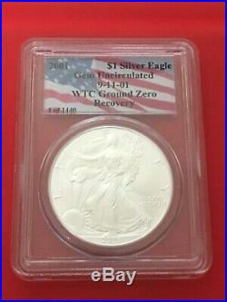 2001 Silver American Eagle Dollar Wtc Ground Zero Recovery Pcgs Gem Uncirculated