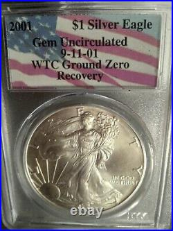 2001 Silver Eagle 9/11 World Trade Center Recovered PCGS GEM UNCIRCULATED