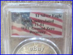 2001 Silver Eagle Dollar Wtc Ground Zero Recovery Pcgs Gem Uncirculated 9/11