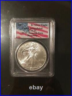 2001 Silver Eagle GEM Uncirculated 9-11-01 WTC Ground Zero Recovery Coin