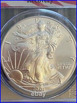 2001 Silver Eagle / Gem Uncirculated / 9-11-01 / WTC Ground Zero Recovery