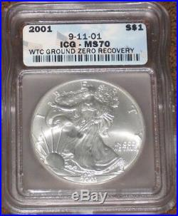2001 Silver Eagle ICG Certified MS70 World Trade Center WTC Recovery TOP GEM 911