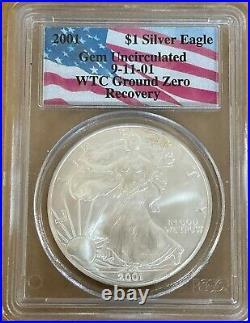 2001 Silver Eagle PCGS GEM BU WTC Ground Zero Recovery Flag Holder (00126R)