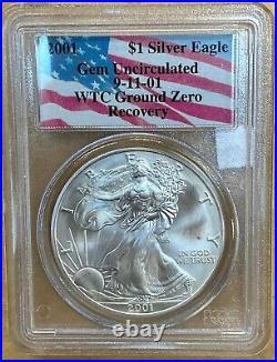 2001 Silver Eagle PCGS GEM BU WTC Ground Zero Recovery Flag Holder (01230AR)