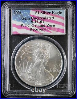 2001 Silver Eagle PCGS Gem Uncirculated 9-11 WTC Ground Zero Recovery