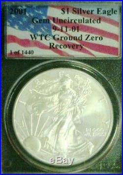 2001 Silver Eagle Wtc Trade Center Recovery Pcgs Gem Bu 1 Of 1440 (3613nam)