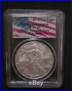 2001 WTC Ground Zero Recovery 1 oz Silver Eagle PCGS GEM Uncirculated 9-11-01