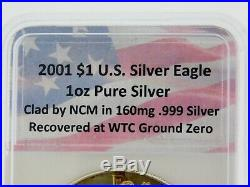 3-2001 Us Mint 1oz Uncirculated. 999 Silver Eagles Wtc Recovery Ntc Certified