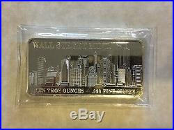 40 10oz Silver Bar Wall Street Mint NY Skyline World Trade Center Twin Towers