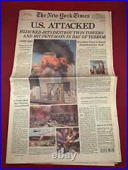 6 New York Times 9/11 Newspaper set US Attacked World Trade Center 09/12/01