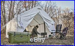 8 Persons Canvas Wall Tent 10' x 12' Fire Retardant Outdoor Camping Large