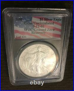911 RECOVERY 2001 SILVER EAGLE WTC TRADE CENTER PCGS GEM BU 1 of only 426