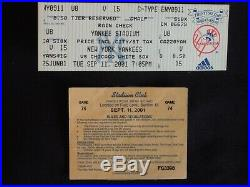 9/11/01 FULL TICKET (NOT A STUB) NY YANKEES vs CHICAGO CUBS WTC TRAGEDY