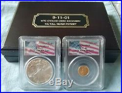 9-11-01 WTC Ground Zero Recovery (2) coins 2001 Silver Eagle & 1999 Gold Eagle