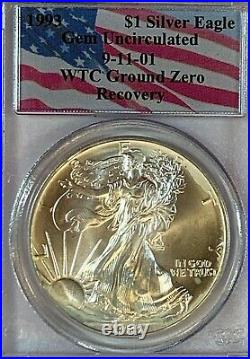9-11 Set 1993 Silver Eagle From World Trade Center and 2011-W 9-11 Medal PCGS
