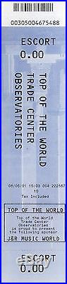 August 2001 World Trade Center Observatory Ticket 9/11