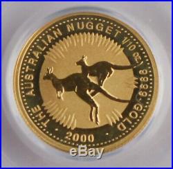 Australia 2000 1/10 Oz Gold $15 Coin Nugget/Kangaroo GEM BU PCGS WTC Ground Zero