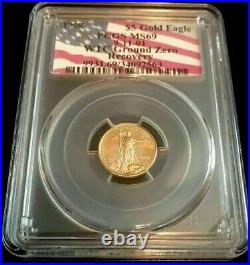 Barcode 1998 $5 American Gold Eagle 911 Wtc Ground Zero Recovery Pcgs Ms69