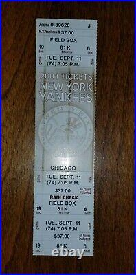 Baseball New York Yankees vs Sox 9/11/2001 Ticket World Trade Center. Excellent