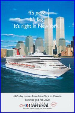 CARNIVAL CRUISE LINES 2000 Travel poster NEW YORK WORLD TRADE CENTER LINEN NM