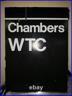 Chambers WTC World Trade Center HEAVY Metal Sign Subway