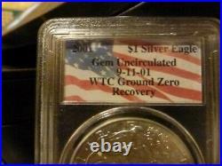 Complete set WTC Ground Zero Recovery Silver Eagles 1987, 89, 91, 93, 2000, 01