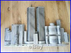 Curtis Jere World Trade Center Twin Towers Metal Wall Sculpture signed 2003 MCM