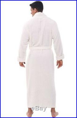 Del Rossa Mens Turkish Terry Cloth Robe, Long Cotton Bathrobe, 3XL 4XL WHITE