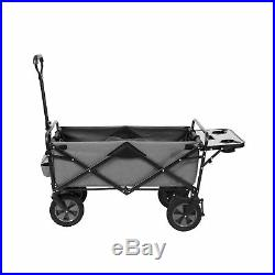 Foldable Carrying Wagon Self-Standing Removable Table All-Terrain Wheels (Grey)