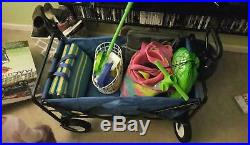Folding Utility Wagon Shopping Garden Beach Cart with All Terrain Wheels Blue