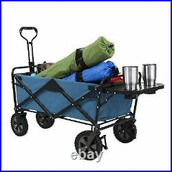 Folding Wagon With Table Beach Cart Garden Home Utility Collapsible