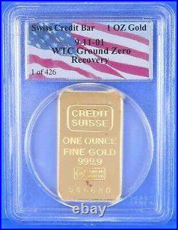 Gold Swiss Credit Suisse Bar 911 WTC Ground Recovery 1 Troy Oz 1 of 426 Bullion