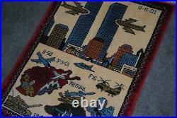 Hand made afghan war rug world trade center rugs size 76 cm x 56 cm