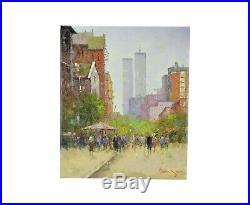 Impressionist Oil Painting New York City Street Scene World Trade Center