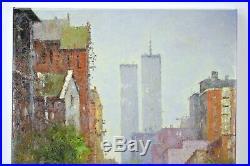 Impressionist Oil Painting New York City Street Scene World Trade Center Morgan