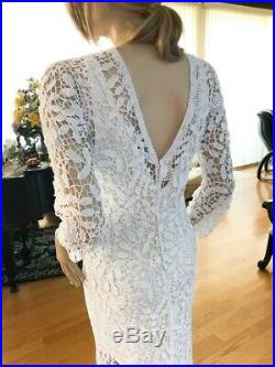 LIM'S Unique All Hand Made Cotton Crochet Wedding Dress With Lining Fit S, M