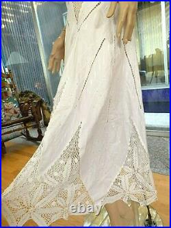 LIM'S Vintage All Hand Made Crochet & Patch-work Bracelet Sleeve Maxi Dress