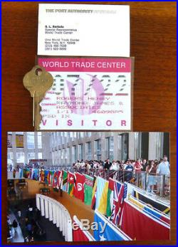 LOT Authentic World Trade Center Key + Visitor Pass + WTC Photo + Biz Card NYC