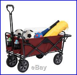 MAC Sports Wagon with Picnic Tray Table Bonus RED Folding Beach Cart