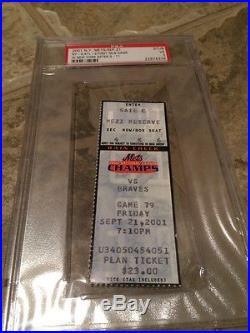 METS vs BRAVES SEPT 21, 2001 SEASON TICKET STUB PIAZZA WORLD TRADE CENTER 9-11