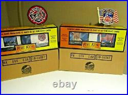 MTH FDNY 9-11 World Trade Center Boxcar Set RESCUE 2 & GROUND ZERO with Patches